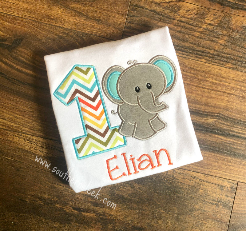 Elephant Birthday Shirt or Bodysuit Embroidered Blue, Orange & Gray