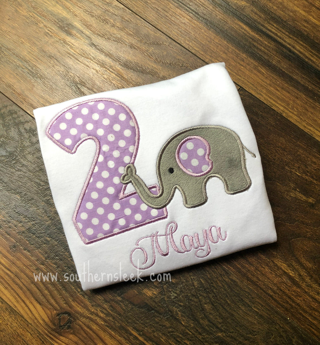 Elephant Birthday Shirt or Bodysuit Embroidered Purple & Gray
