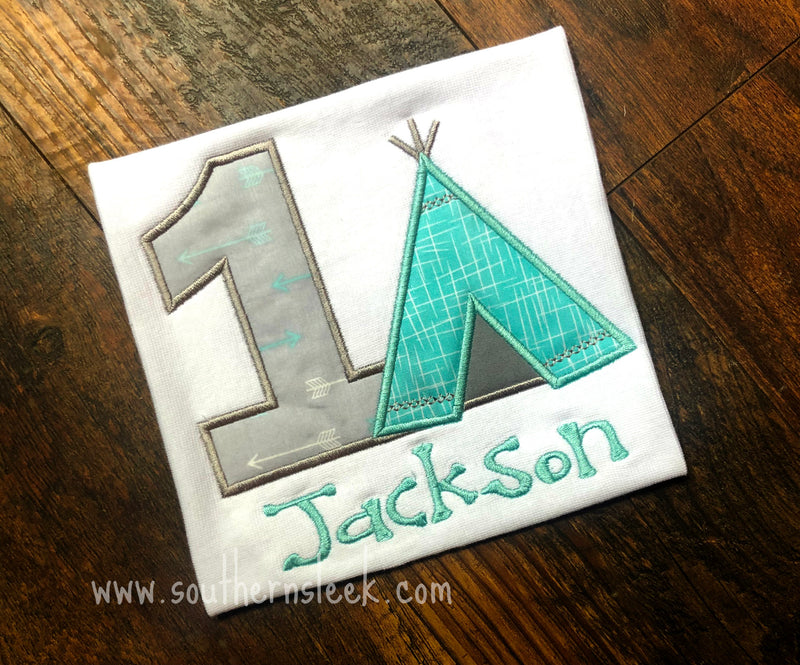 Teepee Birthday Shirt in Aqua/Teal & Grey Shirt or Bodysuit