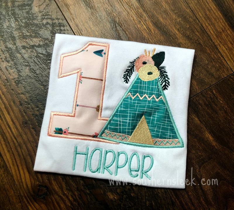 Teepee Floral Birthday Shirt or Bodysuit in Blush and Teal