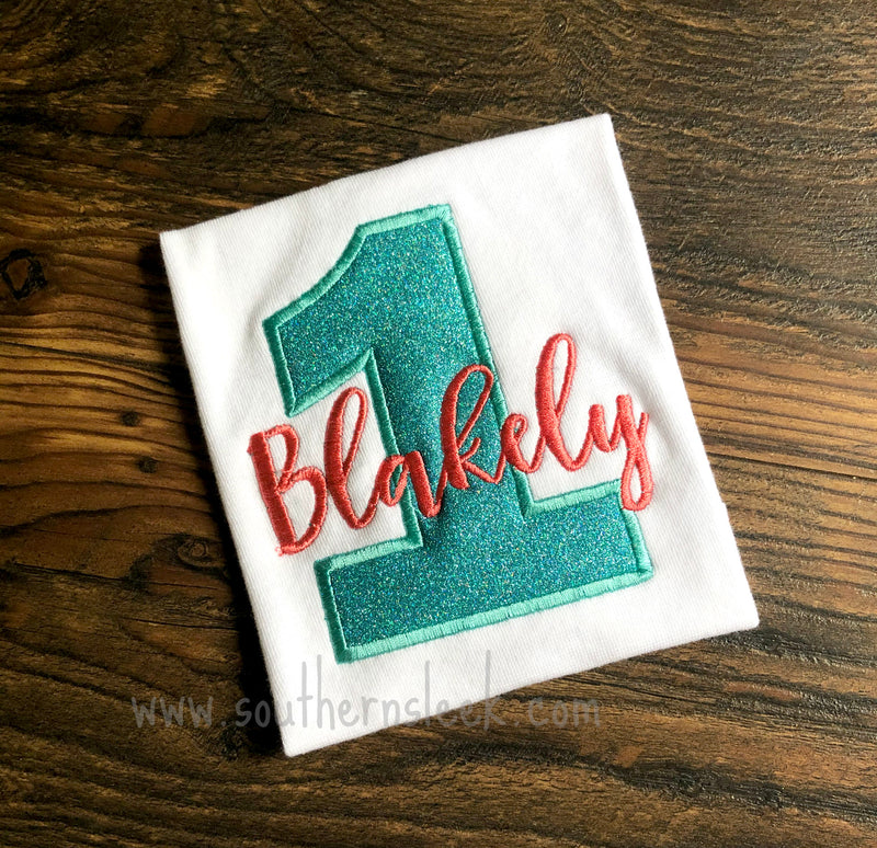 Coral & Teal Glitter Birthday Shirt or Bodysuit