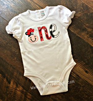 Cow Red Bandana Birthday One Embroidered Shirt or Bodysuit