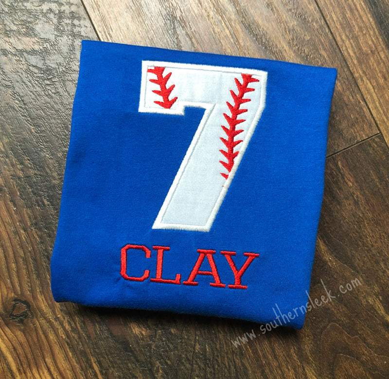 Kid's Baseball Birthday Number Royal Blue Embroidered Shirt or Bodysuit