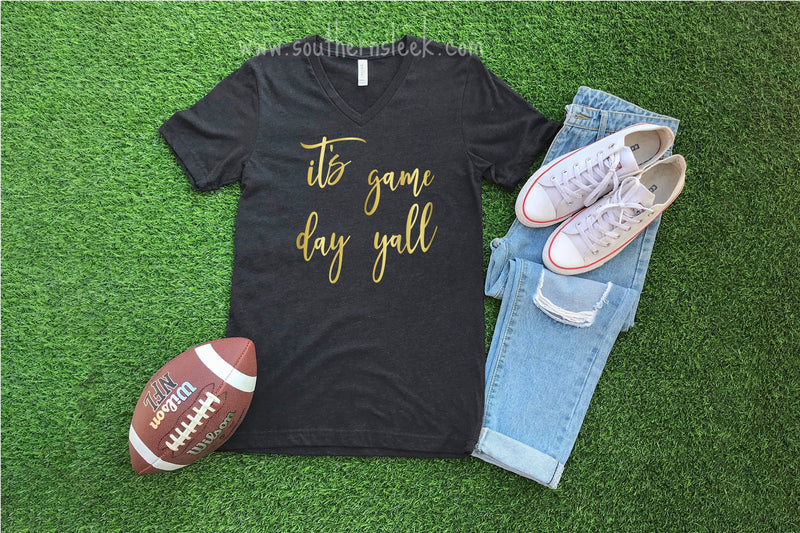 It's Gameday Yall Black V-Neck Shirt with Gold Lettering