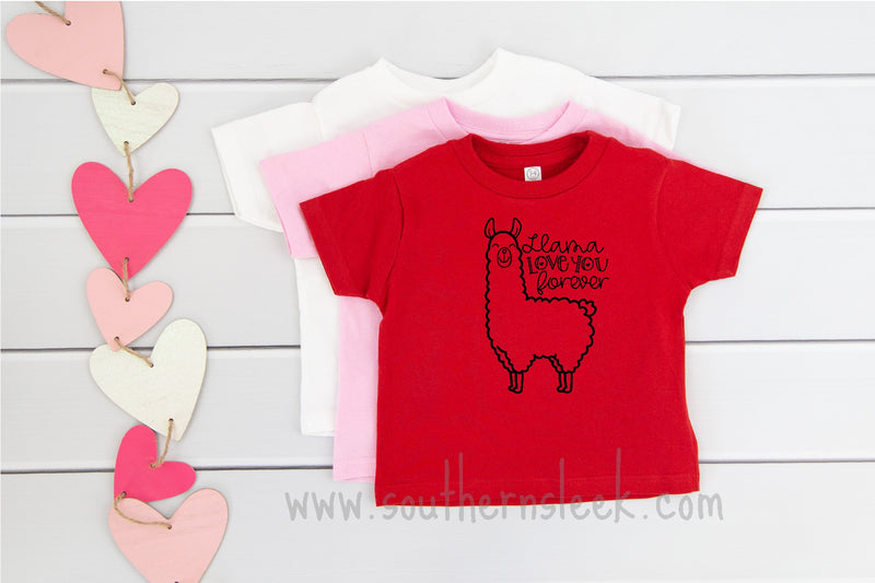 Llama Love You Forever Kids Valentine Shirt