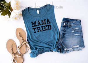 Mama Tried Blue Muscle Tank Top