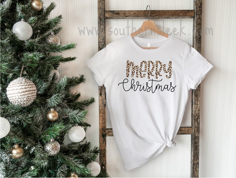 Merry Christmas Leopard Short or Long Sleeve Shirt