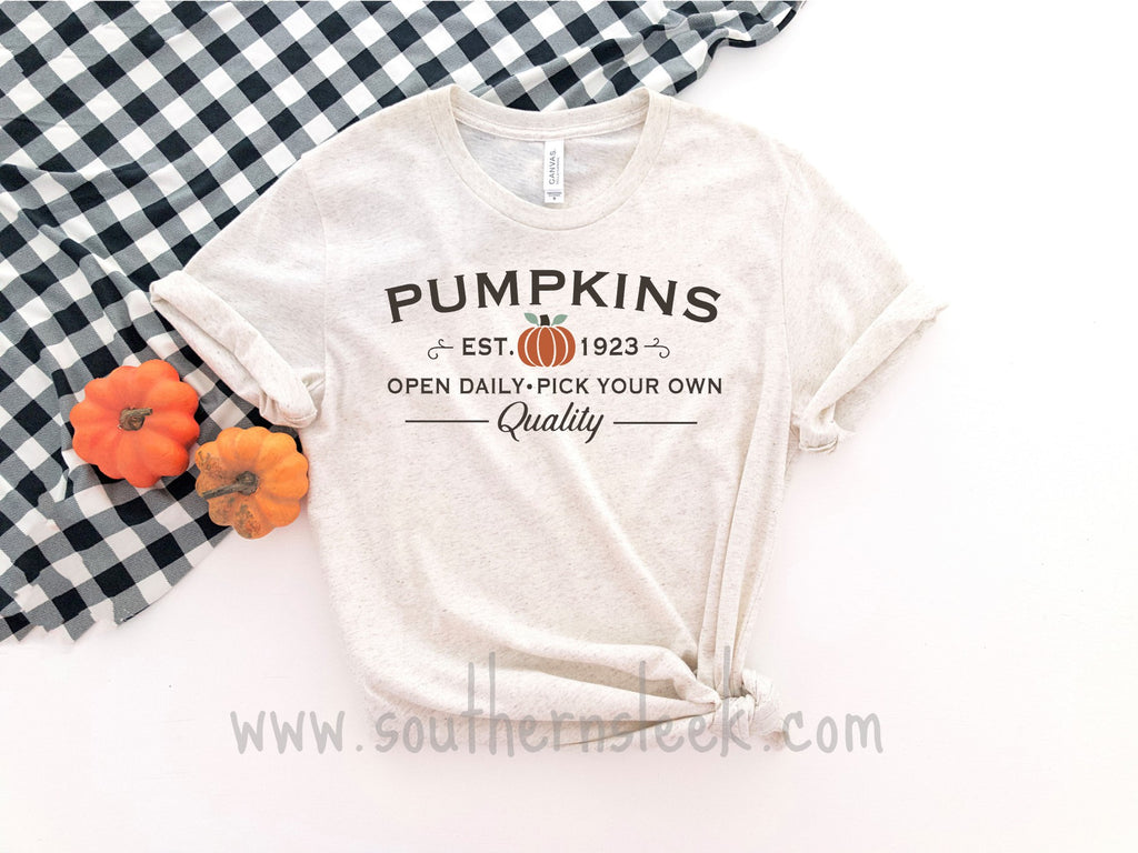Pumpkins Open Daily Pick Your Own Oatmeal Shirt