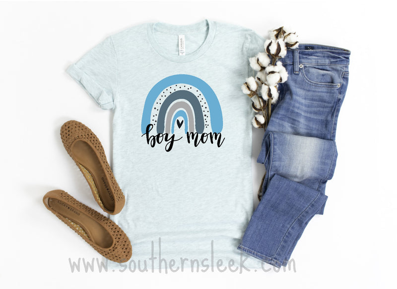 Rainbow Boy Mom Light Blue Shirt