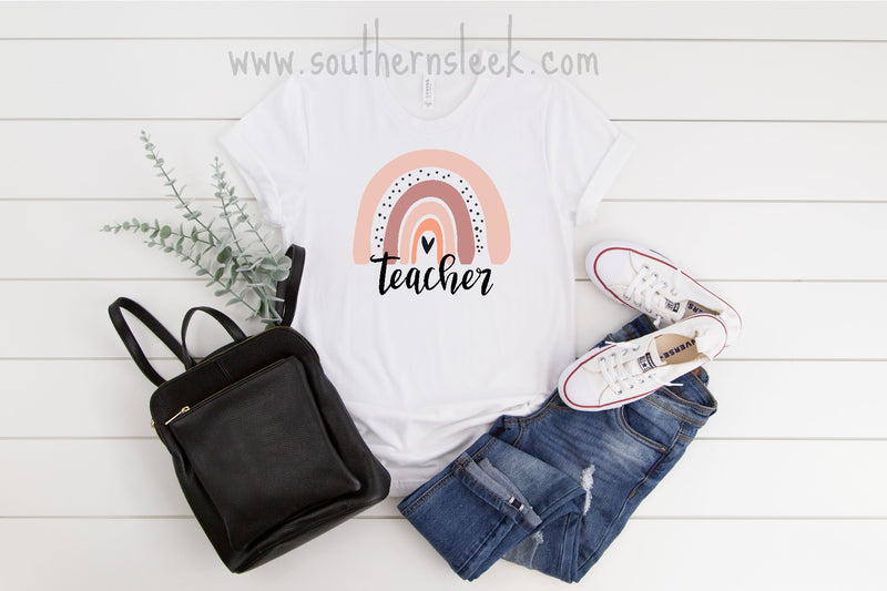 Rainbow Teacher White Shirt