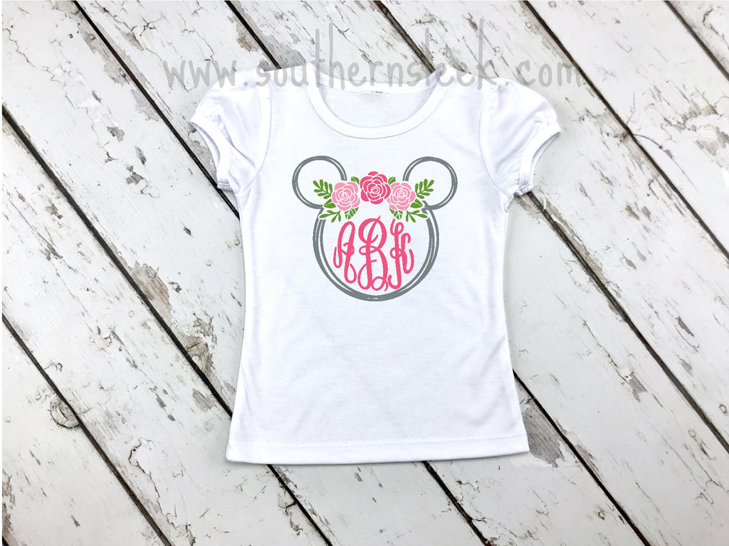 Disney Minnie Mouse Floral Monogrammed Shirt