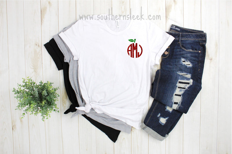 Adult Glitter Apple Monogrammed Shirt