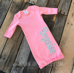 Personalized Baby Gown in Pink & Floral