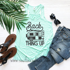 Back That Thing Up Camper Mint Racerback Tank Top