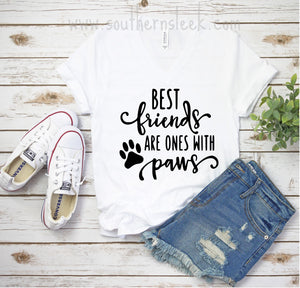 Best Friends Are Ones With Paws V-Neck T-Shirt