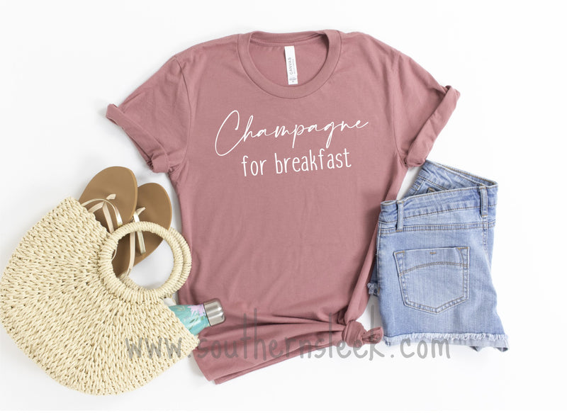 Champagne for Breakfast Mauve Shirt