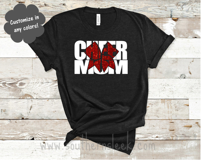 Cheer Mom with Glitter Bow Shirt