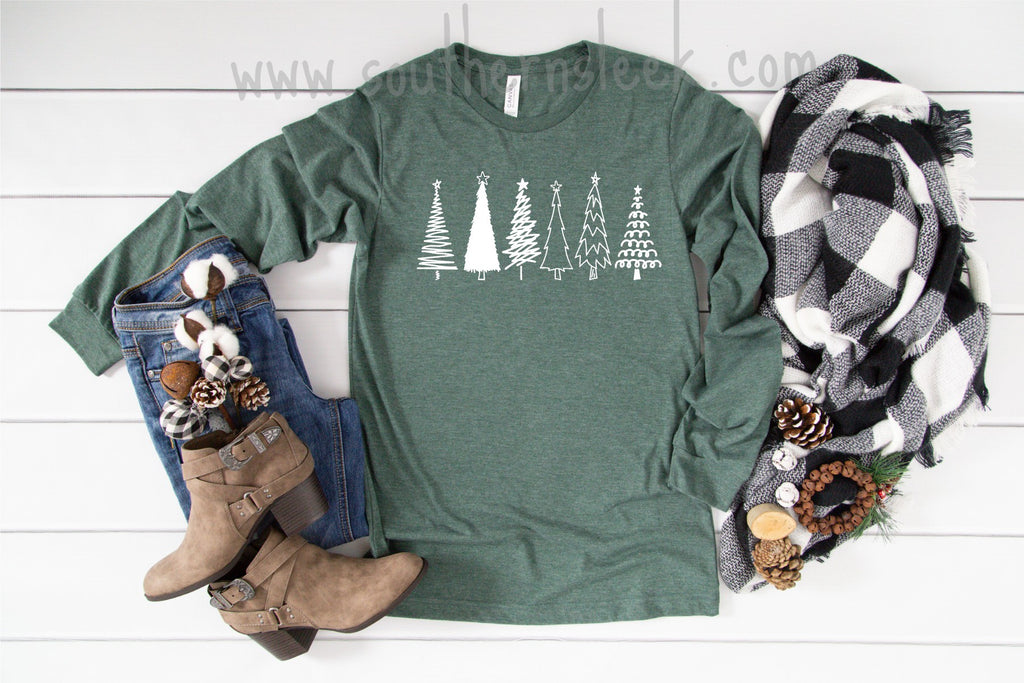 Christmas Trees Forest Green Long Sleeve Shirt
