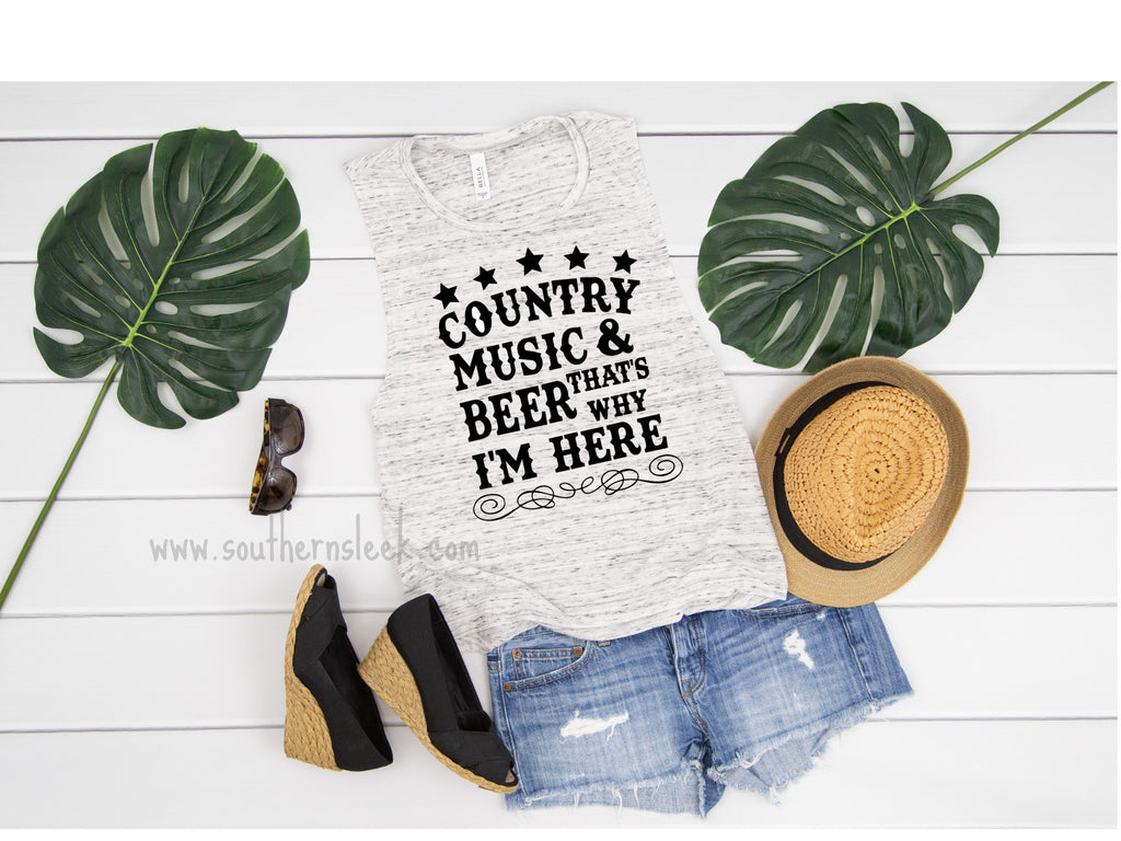 Country Music & Beer That's Why I'm Here Black and White Marble Muscle Tank Top
