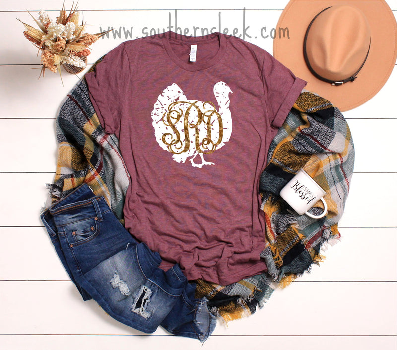 Distressed Monogrammed Turkey Shirt with Gold Glitter Monogram