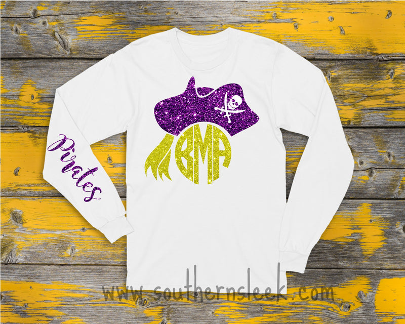 East Carolina Pirates Themed Monogrammed T-Shirt with Glitter (Babies & Childrens)