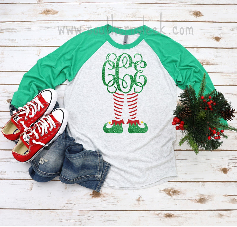 Elf Themed Monogrammed Raglan - Adult & Youth