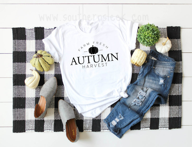 Farm Fresh Autumn Harvest White Shirt in Short or Long Sleeves