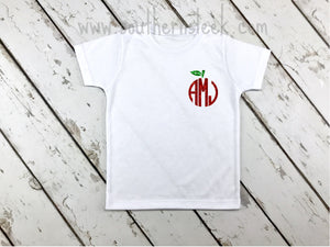 Kid's Glitter Apple Monogrammed Shirt