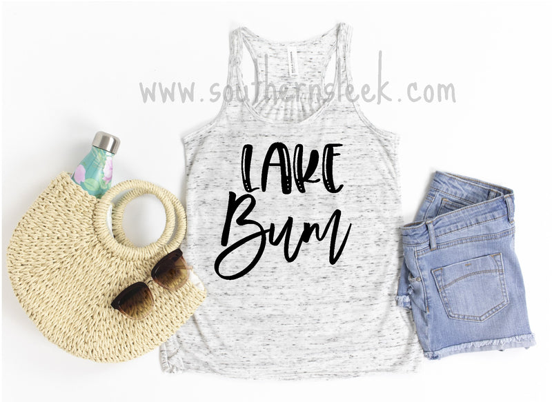 Lake Bum Black & White Marble Racerback Tank Top