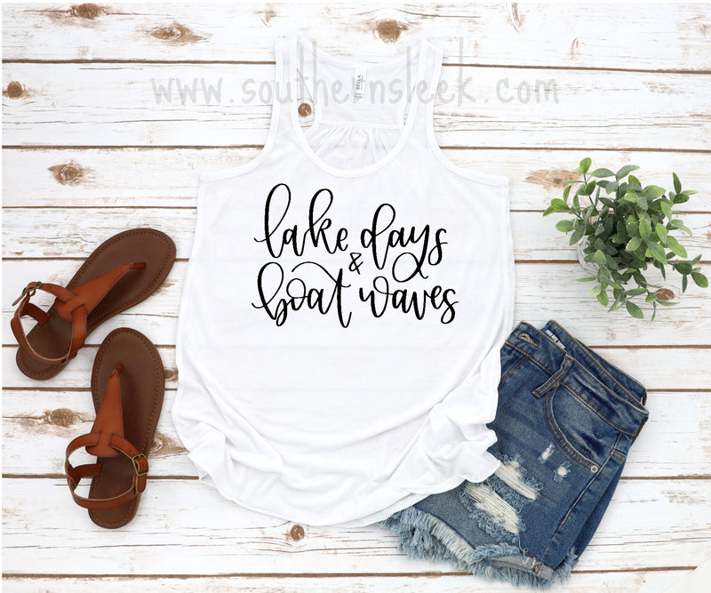 Lake Days & Boat Waves White Racerback Tank Top