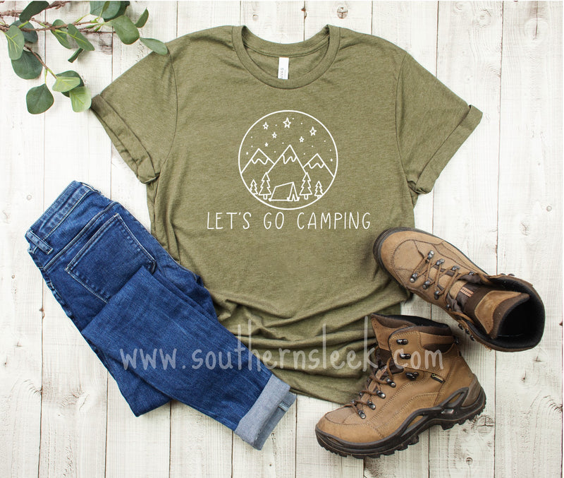 Let's Go Camping Olive Green T-Shirt