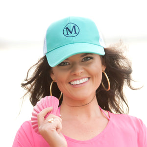 Mint Trucker Monogrammed Hat