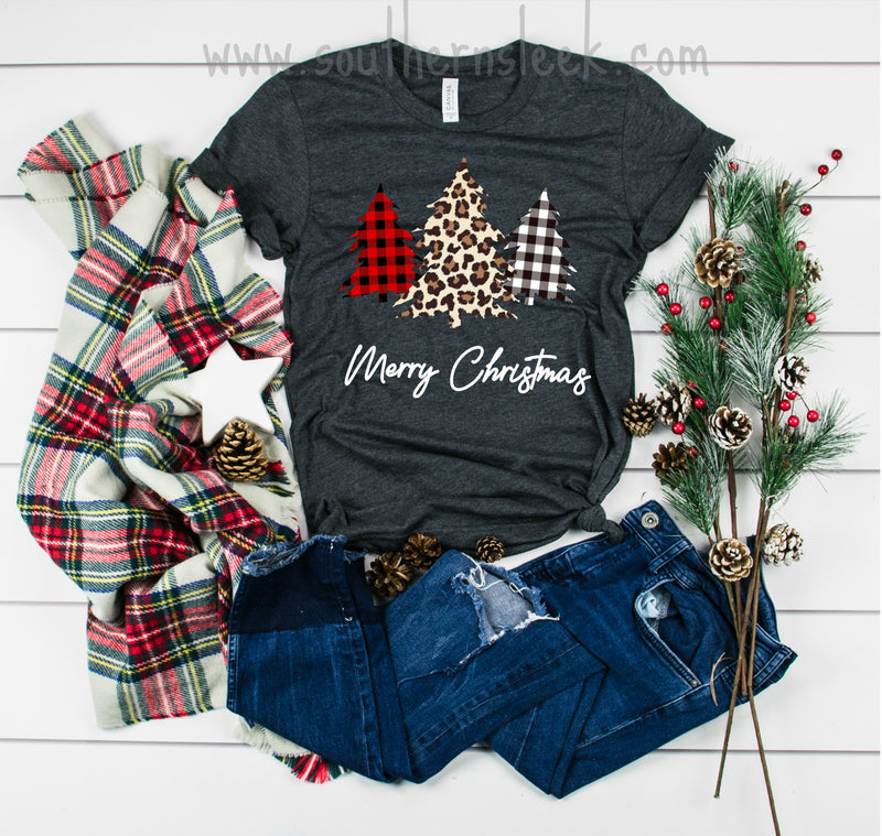 Merry Christmas Leopard & Buffalo Plaid Check Trees Short or Long Sleeve Shirt