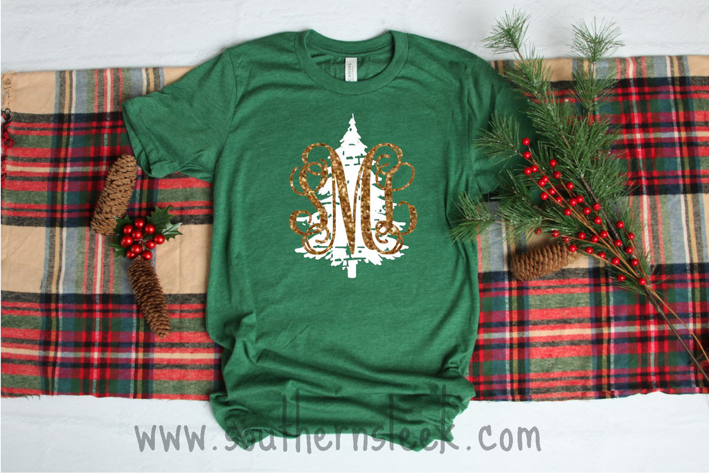 Distressed Monogrammed Christmas Tree Shirt