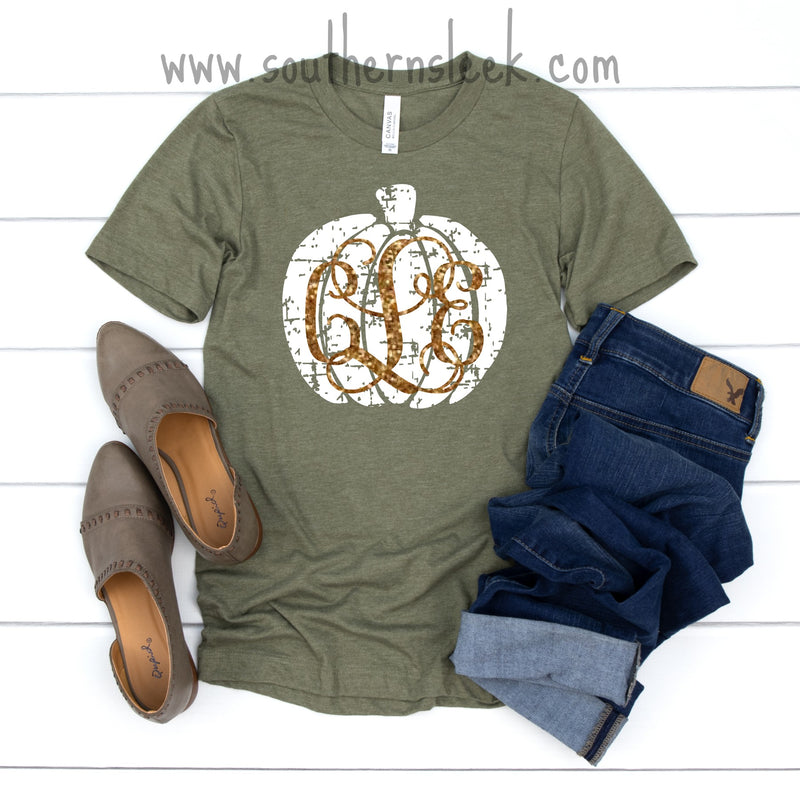 Olive Green Distressed Pumpkin Shirt with Gold Glitter Monogram