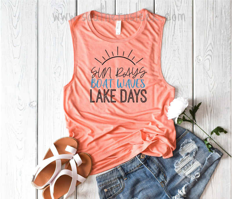 Sun Rays Boat Waves Lake Days Coral Muscle Tank Top
