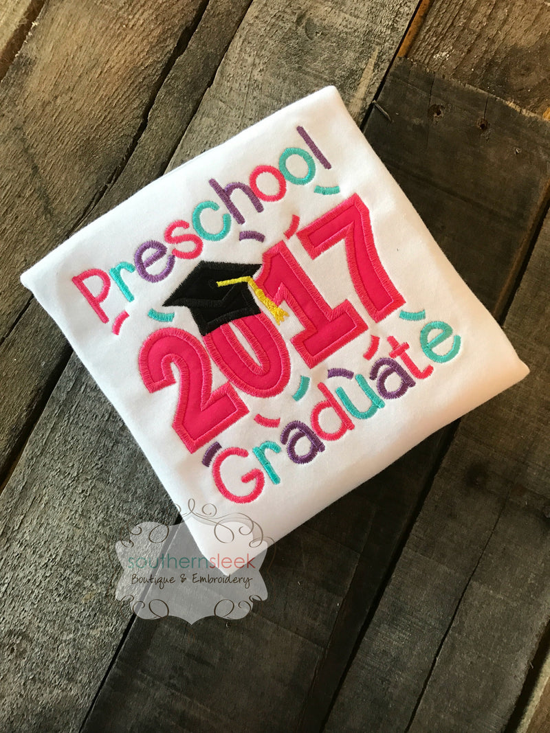 Preschool 2020 Graduate Embroidered Shirt in Pink, Purple & Teal