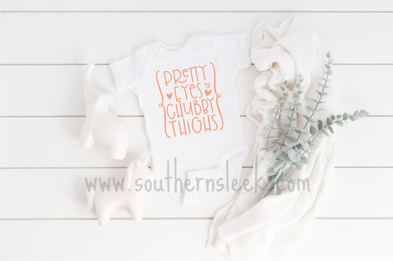 Pretty Eyes Chubby Thighs Peach & White Baby Bodysuit