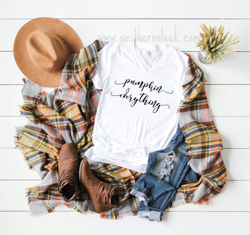 Pumpkin Everything White V-Neck Shirt