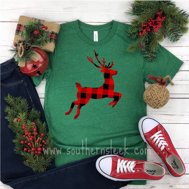Buffalo Plaid Reindeer Christmas Shirt