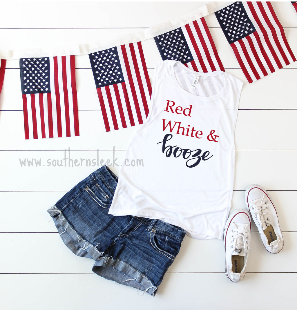 Red, White & Booze White Muscle Tank Top
