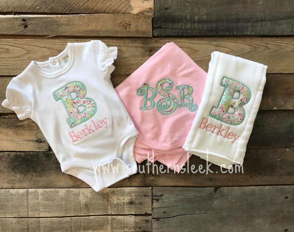Set of 3 - Bodysuit, Burp Cloth, & Blanket Pink Blue Floral Applique