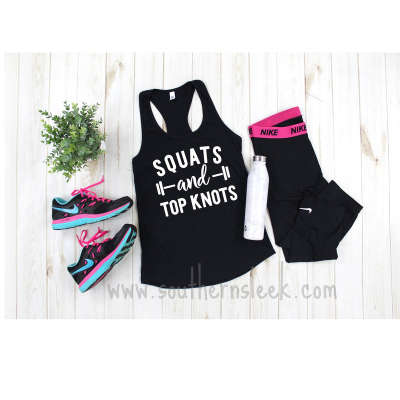 Squats & Top Knots Racerback Tank Top