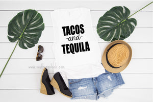 Tacos & Tequila White Muscle Tank Top