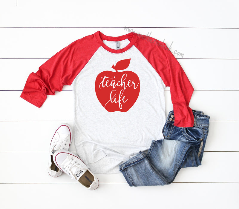 Teacher Life Apple Red Raglan Shirt