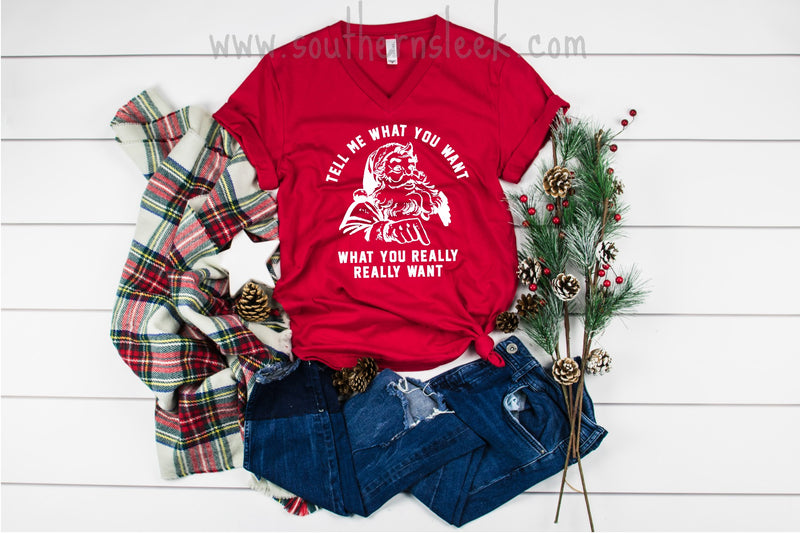 Santa Tell Me What You Want What You Really Really Want V-Neck Shirt