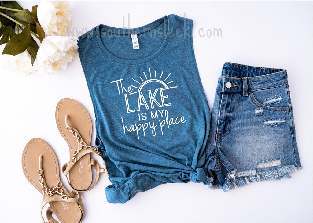 The Lake is My Happy Place Blue Muscle Tank Top
