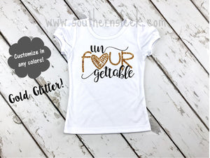 Un FOUR Gettable Kids Shirt in Black & Gold Glitter