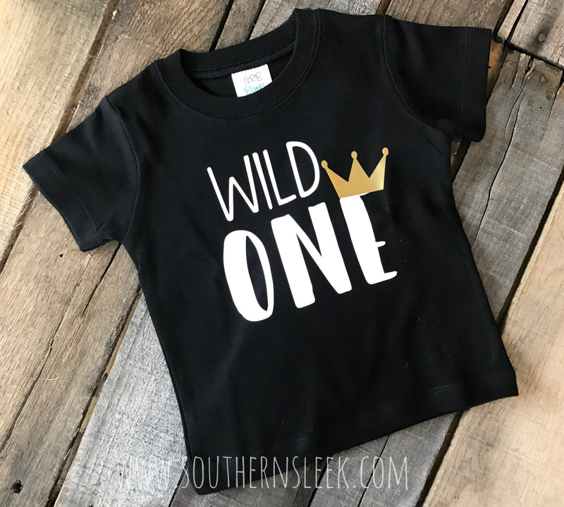 Wild One Kid's Shirt in Black, White & Gold