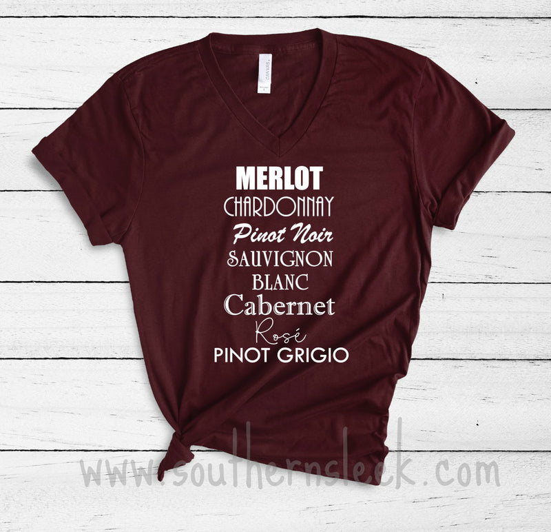 Wine Varietals V-Neck Shirt